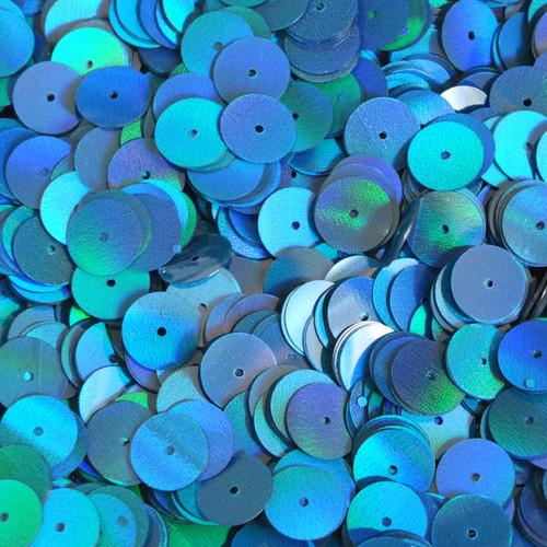 10mm Round Sequins Marine Blue Shimmer Lazer Rainbow