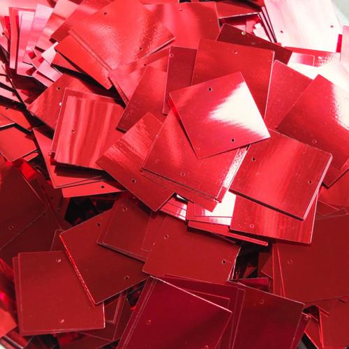 25mm Square Sequins Red Metallic