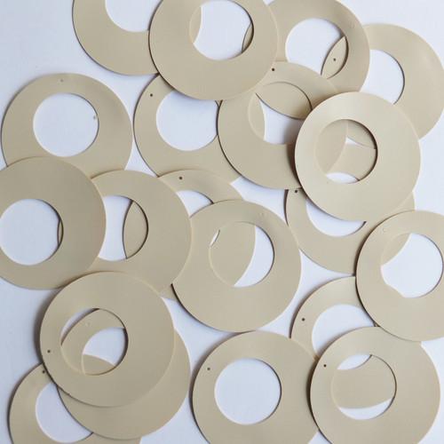 """Circle Loop Sequin 1.5"""" Beige Tan Opaque Vinyl"""