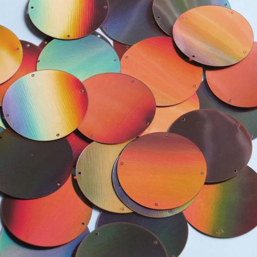 Round Sequin Paillettes 40mm Four Hole Copper Lazersheen Reflective Metallic