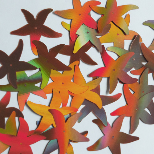 "Starfish Sequin Center Hole 1.5"" Copper Lazersheen Reflective Metallic"