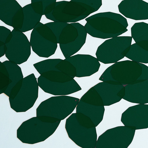 "Facet Gem Teardrop Sequin 1.25"" Deep Dark Green Transparent Glossy See-Thru"