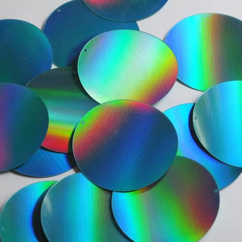 Round Sequin 50mm Aqua Blue Lazersheen Reflective Metallic