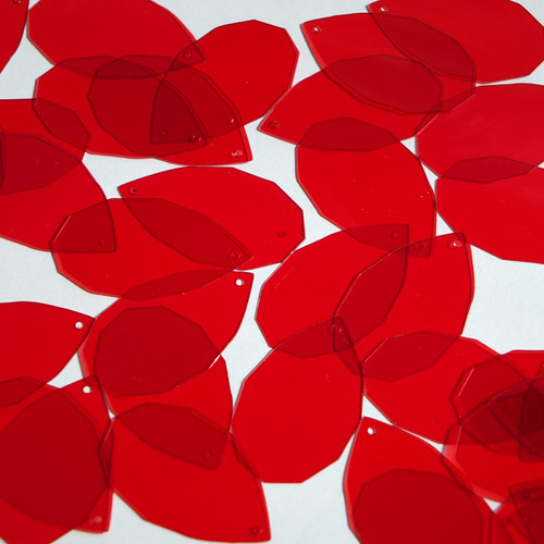 "Facet Gem Teardrop Sequin 1.25"" Red Transparent Glossy See-Thru"