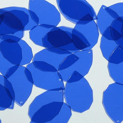 "Facet Gem Teardrop Sequin 1.25"" Royal Blue Transparent Glossy See-Thru"