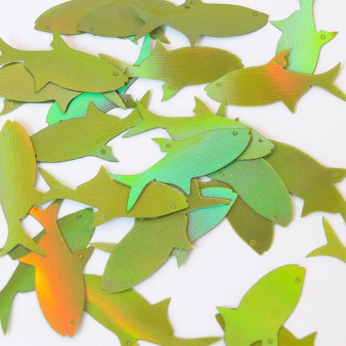 "Fish Sequin 2 hole 1.5"" Lime Green Lazersheen Reflective Metallic"