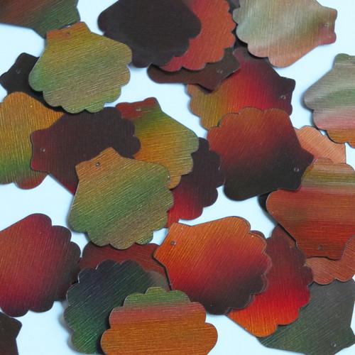 "Scallop Shell Sequin 1.25"" Bronze Brown Lazersheen Reflective Metallic"