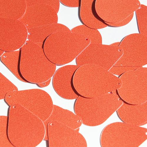 "Pear Drop Sequin 1"" Coral Orange Opaque Satin Pearl"