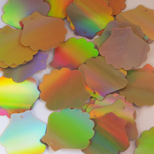 "Scallop Shell Sequin 1.25"" Gold Lazersheen Reflective Metallic"