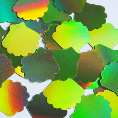 "Scallop Shell Sequin 1.25"" Lime Green Lazersheen Reflective Metallic"