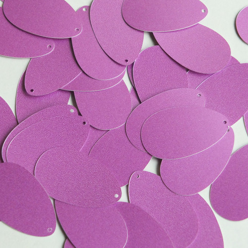 """Pear Drop Sequin 1.25"""" Orchid Pink Purple Opaque Satin Pearl"""