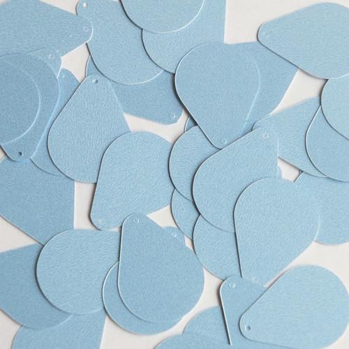 "Pear Drop Sequin 1"" Light Blue Opaque Satin Pearl"