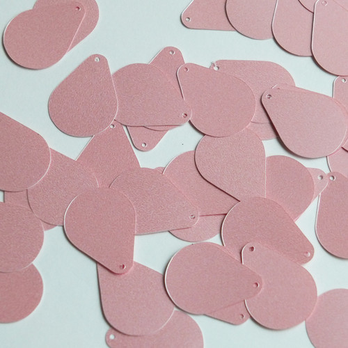 """Pear Drop Sequin 1"""" Baby Pink Opaque Satin Pearl"""