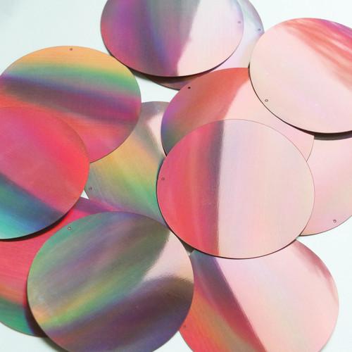 Round Sequin 60mm Pink Lazersheen Reflective Metallic