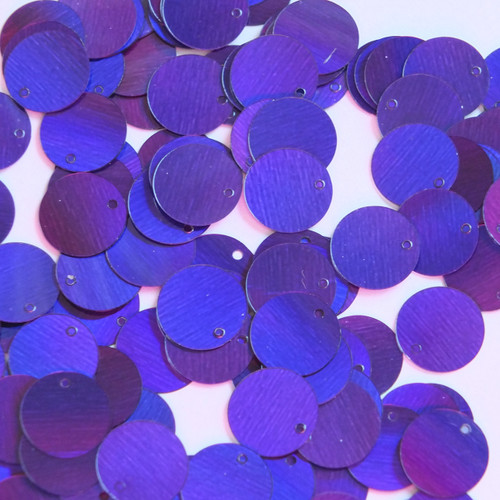 Round Sequin Paillettes 12mm Top Hole Deep Purple Lazersheen Reflective Metallic