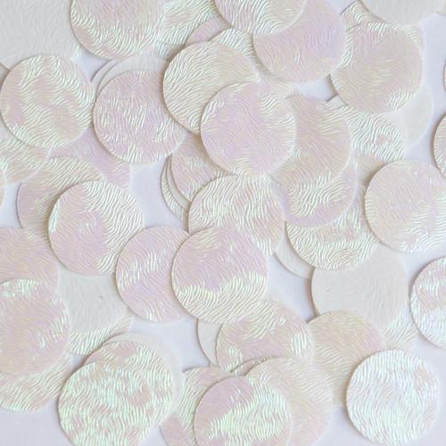 Round Sequin Paillettes 18mm Top Hole White Iris Rainbow Embosssed Swirl Texture