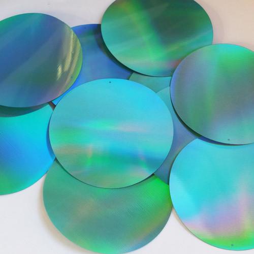 "Round Sequin 3"" Aqua Blue Lazersheen Reflective Metallic"