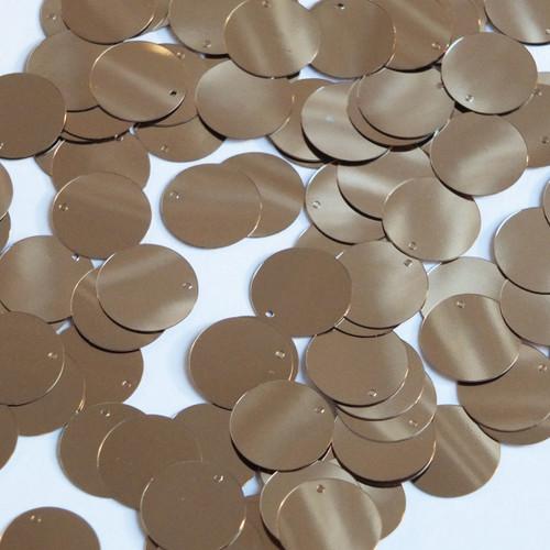Round Sequin Paillettes 12mm Top Hole Pale Gold Metallic