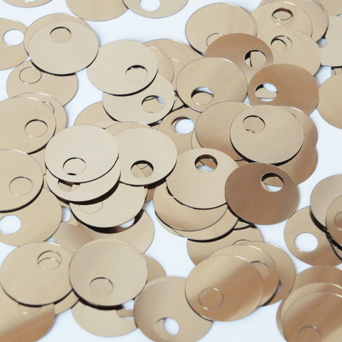 Large Hole Round Sequin 20mm Pale Gold Metallic