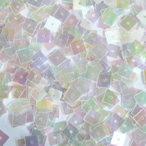 5mm Square Flat Sequins Clear Crystal Rainbow Iris Iridescent