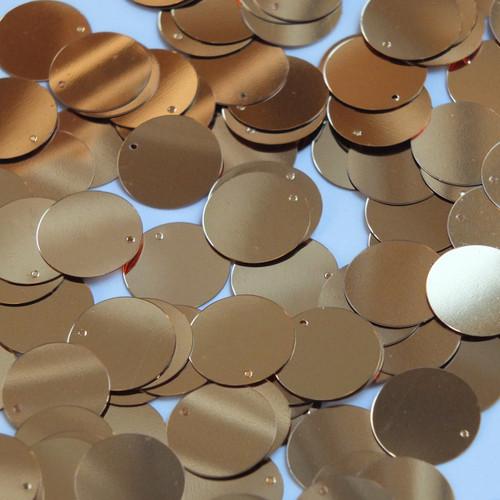 Round  Flat Sequin 18mm Top Hole Deep Gold Metallic