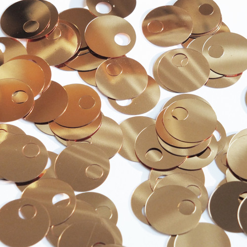 Large Hole Round Sequin 20mm Deep Gold Metallic