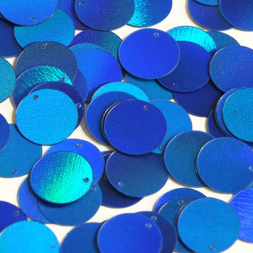 Round  Flat Sequin 18mm Top Hole Blue Lazersheen Rainbow Reflective Metallic