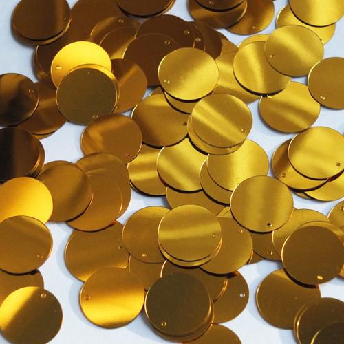 Round  Flat Sequin 12mm Top Hole Brassy Orange Gold Metallic