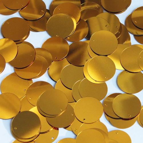 Round  Flat Sequin 15mm Top Hole Brassy Orange Gold Metallic