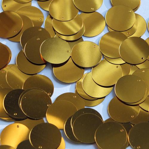 Round  Flat Sequin 18mm Top Hole Brassy Orange Gold Metallic