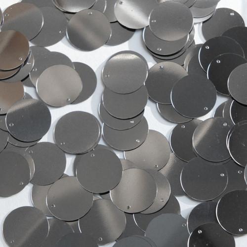 Round  Flat Sequin 12mm Top Hole Hematite Shiny Gray Metallic