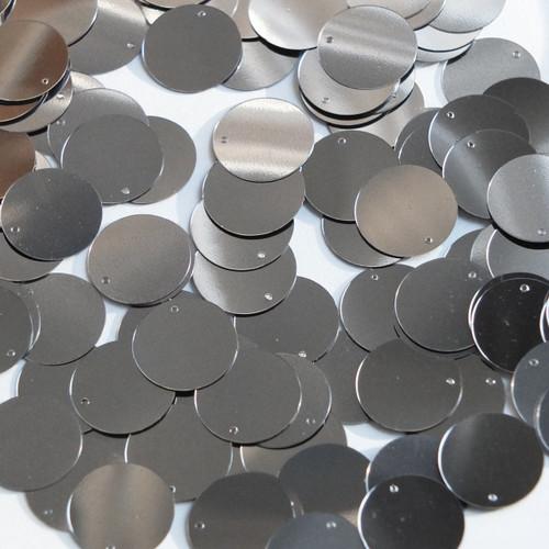 Round  Flat Sequin 15mm Top Hole Hematite Shiny Gray Metallic