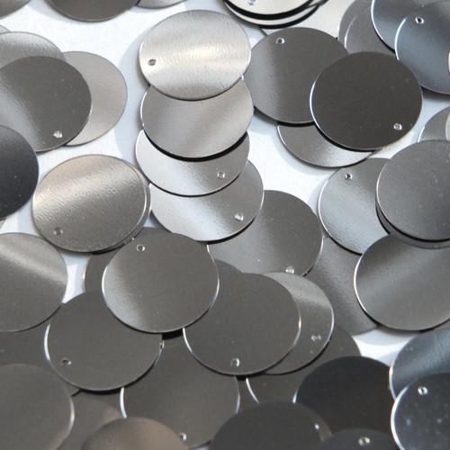 Round  Flat Sequin 18mm Top Hole Hematite Shiny Gray Metallic