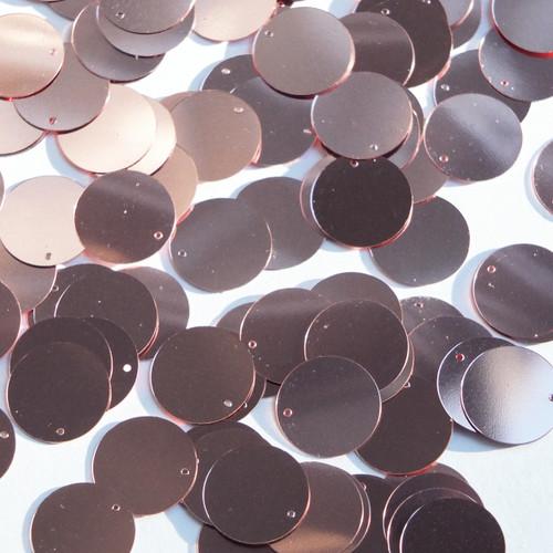 Round  Flat Sequin 12mm Top Hole Soft Pink Metallic