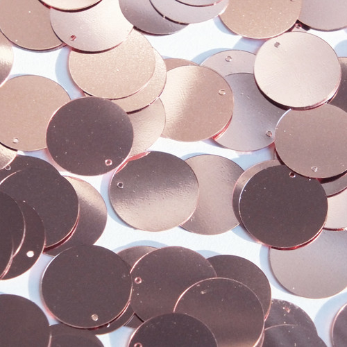 Round  Flat Sequin 18mm Top Hole Soft Pink Metallic