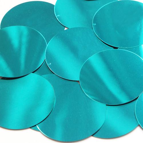 Round  Flat Sequin 70mm Teal Turquoise Metallic