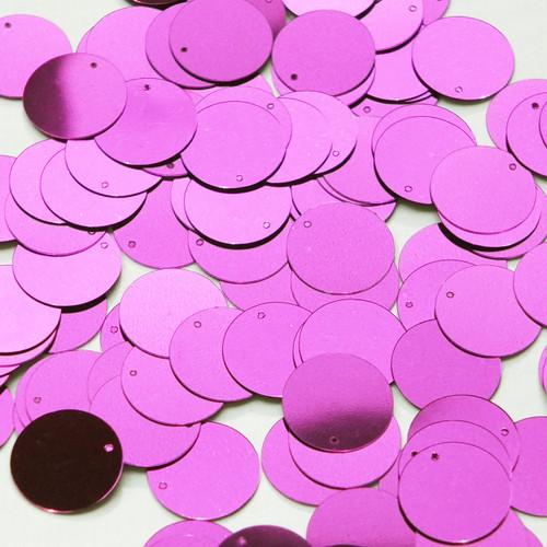 Round  Flat Sequin 12mm Top Hole Bright Violet Purple Metallic