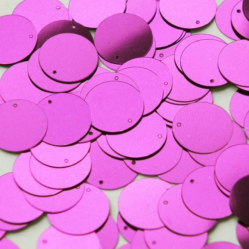 Round  Flat Sequin 15mm Top Hole Bright Violet Purple Metallic