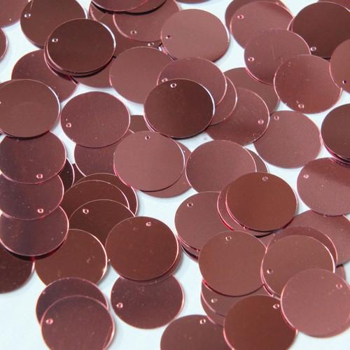Round  Flat Sequin 12mm Top Hole Rose Pink Metallic