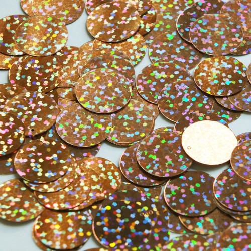 Round  Flat Sequin 18mm Top Hole Copper Hologram Glitter Sparkle