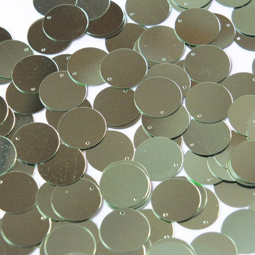 Round  Flat Sequin 15mm Top Hole Pale Green Metallic