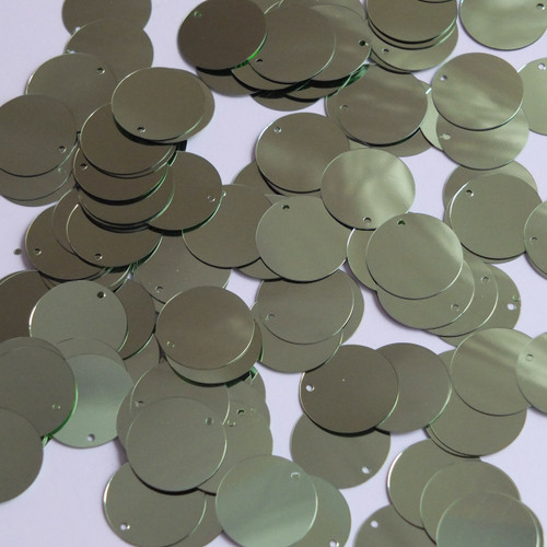 Round  Flat Sequin 18mm Top Hole Pale Green Metallic
