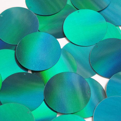 Round  Flat Sequin 50mm Teal Lazersheen Rainbow Reflective Metallic