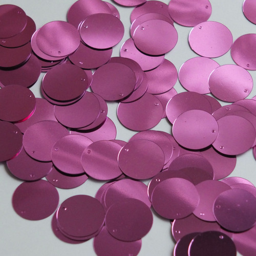 Round  Flat Sequin 12mm Top Hole Orchid Pink Metallic