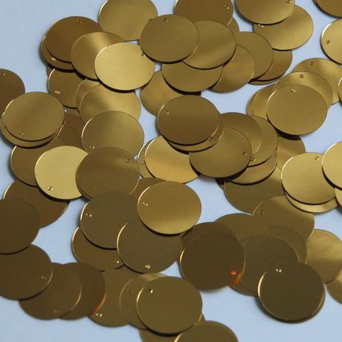 Round  Flat Sequin 12mm Top Hole Very Deep Gold Metallic
