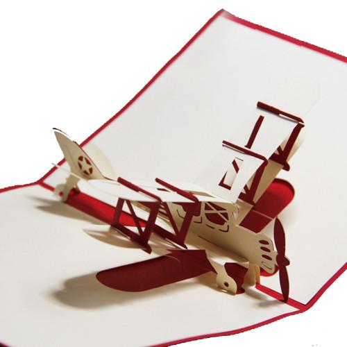 Airplane Handmade 3D Kirigami Card  Free Shipping