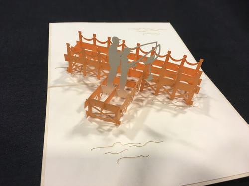 Fishing Dad Handmade 3D Kirigami Card
