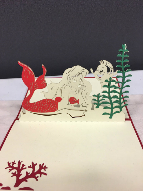 Ariel Little Mermaid Handmade 3D Kirigami card