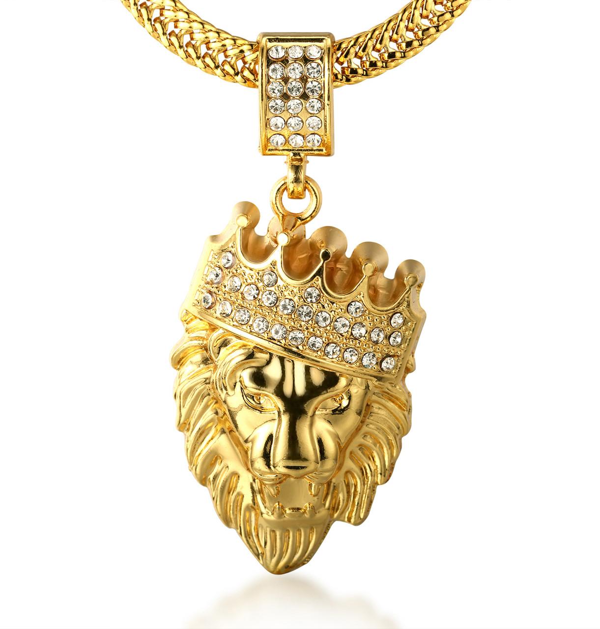 Halukakah kings landing mens 18k real gold plated crown lion halukakah kings landing mens 18k real gold plated crown lion pendant necklace with free sharktail chain aloadofball Image collections