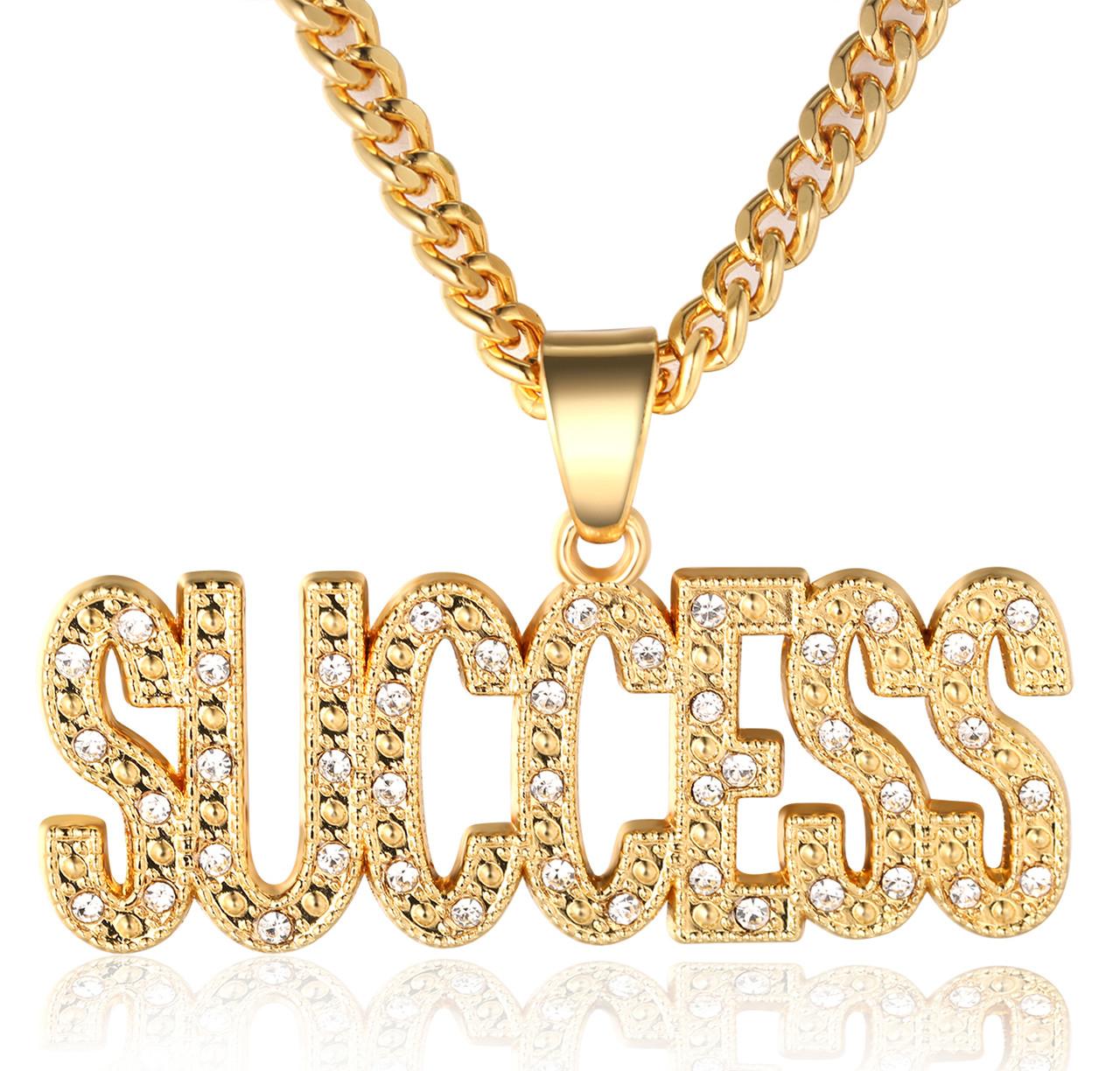 Halukakah in gold we trust mens 18k real gold plated success halukakah in gold we trust mens 18k real gold plated success letter pendant necklace with free aloadofball Gallery